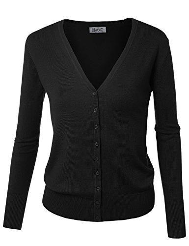 BIADANI Women Button Down Long Sleeve Soft V-Neck Cardigan Sweater Black Large ()