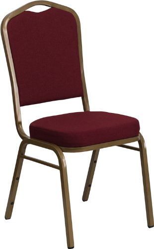 Flash Furniture HERCULES Series Crown Back Stacking Banquet Chair in Burgundy Fabric - Gold Frame - Executive Chair Burgundy Fabric