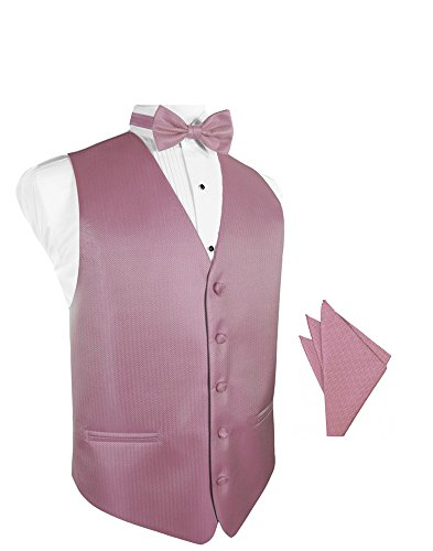 Rose Herringbone Tuxedo Vest with Bowtie & Pocket Square Set ()