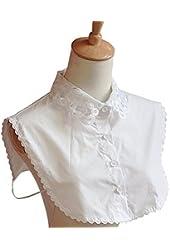 Women's Fake Half Shirt Blouse Collar PeterPan Detachable Collar Unisex Tie White