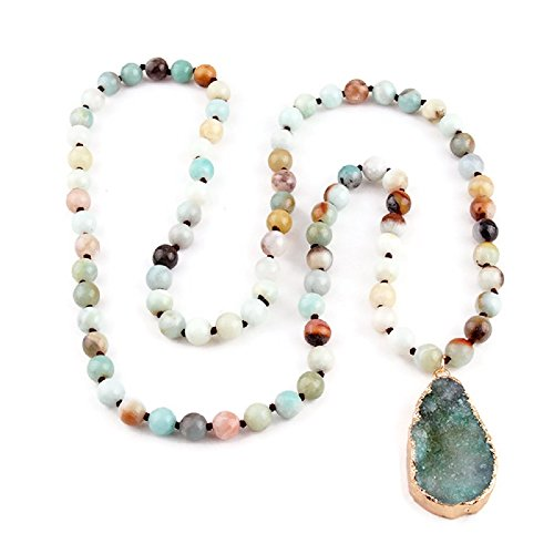 Jewelry Amazonite (Pizazz Studios Frosted Amazonite Natural Druzy Gemstone Pendant Necklace)