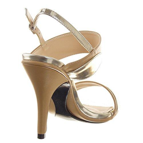 Sopily - Zapatillas de Moda Tacón escarpín Sandalias Stiletto Zapatillas de plataforma Caña baja mujer Talón Tacón de aguja alto 10 CM - Beige