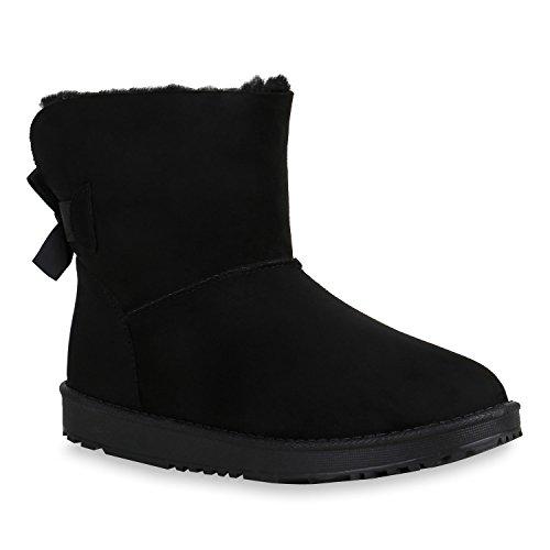 Stiefelparadies Damen Schuhe Stiefeletten Schlupfstiefel Warm Gefütterte Stiefel Strass Flandell Schwarz Arriate