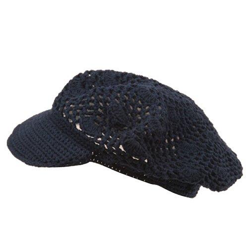Crocheted Newsboy (Crocheted Newsboy Hats(01)-Navy)