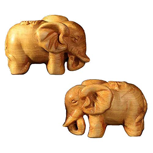 Kansoo 2PCS Wooden Small Size Elephant Statue Wood Carved Figurine for Home Decorations