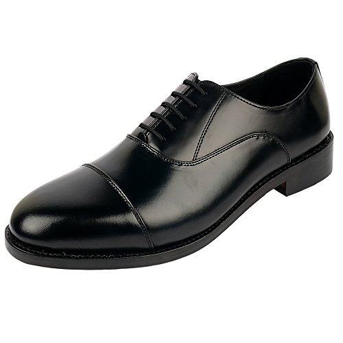 - DLT Men's Genuine Imported Leather with Leather Sole Goodyear Welted Oxford Dress Shoes (12, Black)