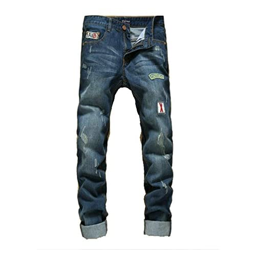 a18a92b133 Vogstyle Men's Distressed Ripped Broken Hole Slim Fit Jeans Denim Joggers  Pants Style 12-blue