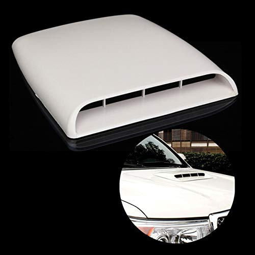 NATGIC Car Air Flow Vent Cover Universal Car Decorative Air Flow Intake Hood Scoop Bonnet Vent Sticker Cover Hood – White