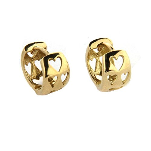 18K Yellow Gold Heart Cut Out Hinged Hoops 9mm round (9mm /5mm Thickness) by Amalia