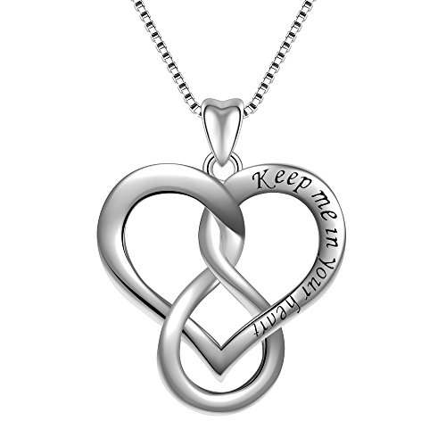 Angemiel 925 Sterling Silver Keep Me in Your Heart Infinity Love Vintage Pendant Necklace, Box Chain (Chain Vintage Necklace)
