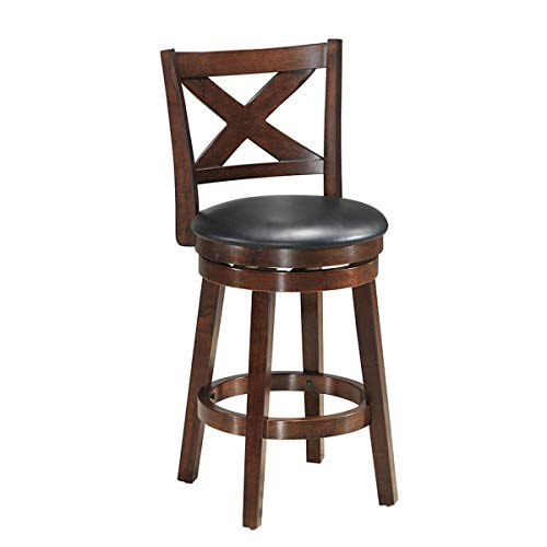 COSTWAY Vintage Dining Chair Accent Wooden Swivel Back Bar Counter Height Stool, Fabric Upholstered 360 Degree Swivel, PVC Cushioned Seat, Perfect for Dining and Living Room (Height 24