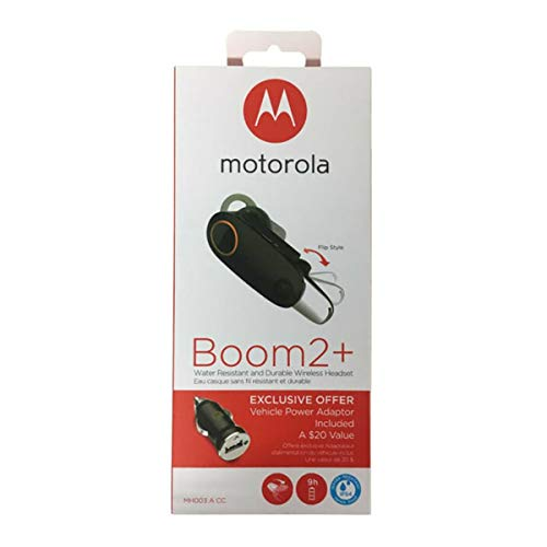 "Motorola Boom 2+""HD Flip Bluetooth - Water Resistant Durable Wireless Headset W/Car Charger, (US Retail Packing"