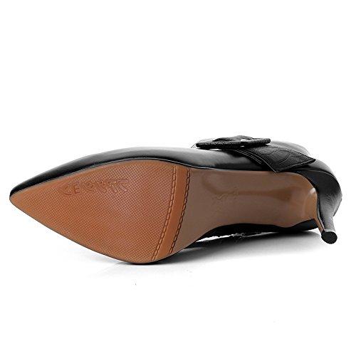 Eleganti Tacco Pelle Punta Spillo Vera Mano A A Fatti Stivaletti Alti Donne Sette Nera Nove Alla Sexy Caviglia Toe In XUAq5A4