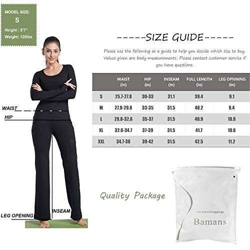 9be9c9558c Sports & Outdoors Bamans Womens Yoga Dress Pants Bootcut Leggings with  Pockets Petite to Plus Size Flared Stretch Workout Work Pants