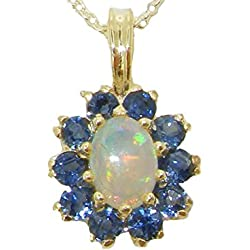 Womens Solid Yellow 10K Gold Natural Opal & Blue Sapphire Pendant Necklace