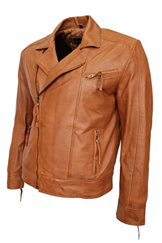 Men's Brando 2155 Fin Brun couette Line Cire de lavage Veste motard en cuir italien doux
