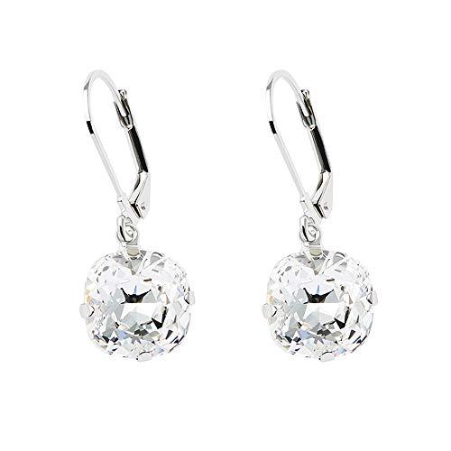 Martine Wester Leverback Drop Square Earrings Checkerboard Cut Crystal Gemstone Dangles Earrings Jewelry for Women