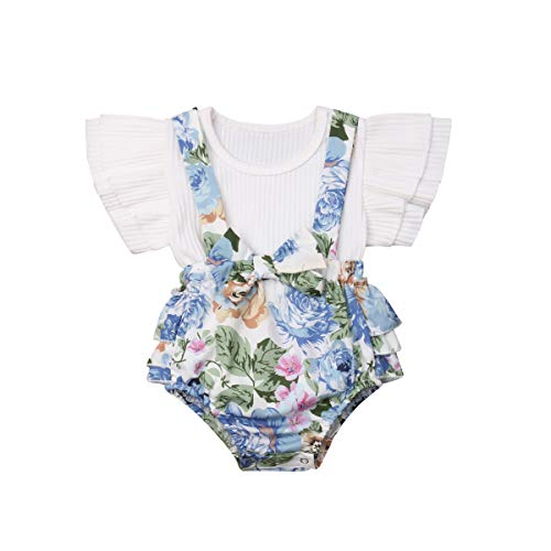 (Baby Girl Floral Dress Infant Flying Sleeves Pink Romper Overall Tops+Bib Shorts Cute Set (0-6 Months, White))