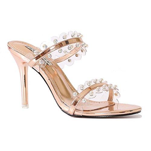 FITTERS FOOTWEAR - Sesy - Mujer Tacones - Beige Charol Zapatos en tallas especiales - beige, 43 EU