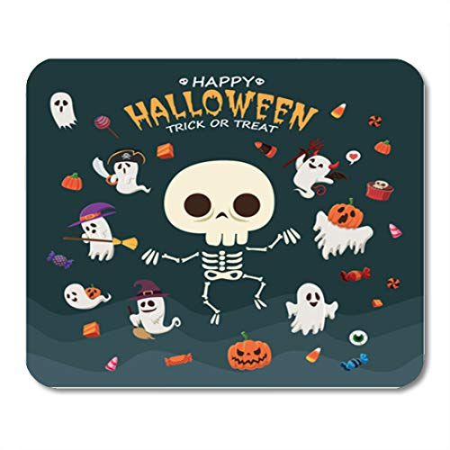 Semtomn Gaming Mouse Pad Broomstick Vintage Halloween Witch Ghost Vampire Mummy Pirate Skeleton 9.5