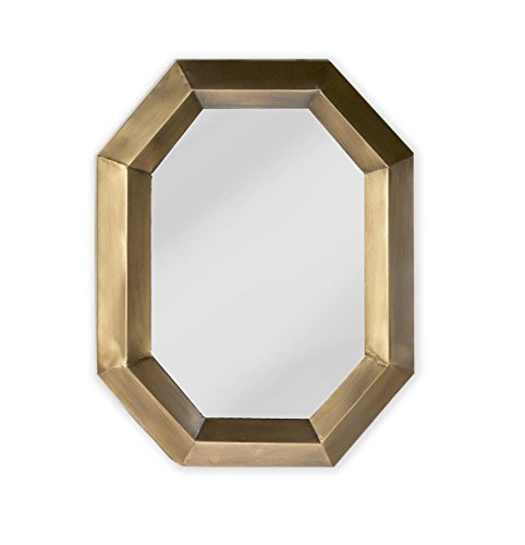 Red Co. Glamorous Modern Industrial Chic Octagon Wall Mirror, Antique Gold Painted Finish, Decorative Wall Décor, 23