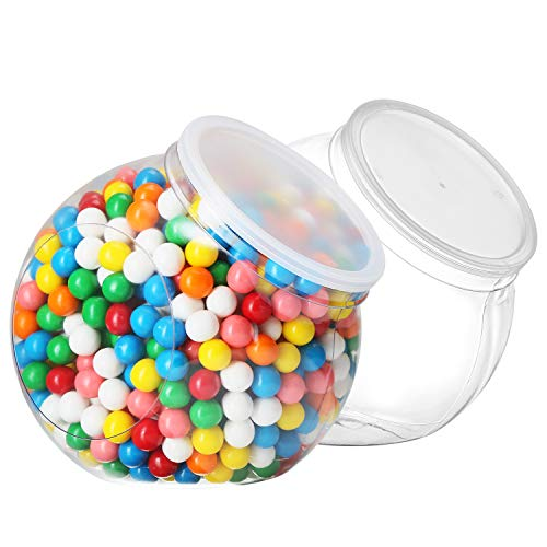 (Pack of 2 - Empty Gumball Style Containers With Lids - Plastic Kitchen Countertop Jars - Wide mouth Opening For Easy Refill - Great For Candy, Homemade Cookies, Cake, Snacks - Food Safe (2 Pack 96 Oz))
