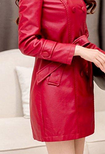 femmes avec manteau croise cuir Rouge ceinture Helan faux 6dw8v8x