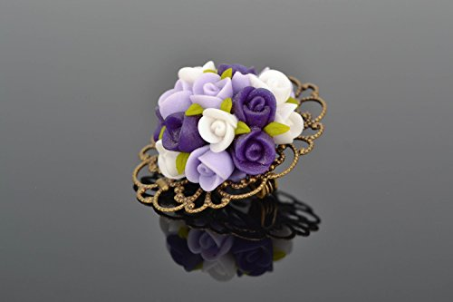 Designer Polymer Clay Flower Brooch ()
