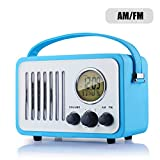 Retro AM/FM Radio, Portable Alarm Clock Radio with LCD Screen, External Antenna, Wooden Speaker Blue Leather Cover(Blue)