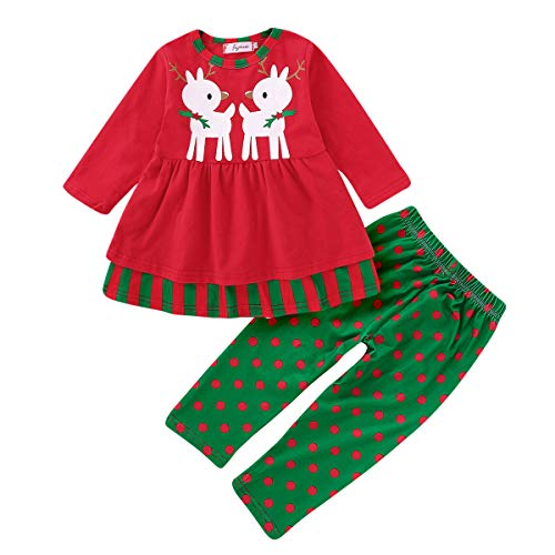 2PCS Toddler Kids Baby Boys Christmas Outfits Short Sleeve Tops+Shorts Pants Clothes Costumes Set 12M-5T (Red-Deer, 2-3T) -