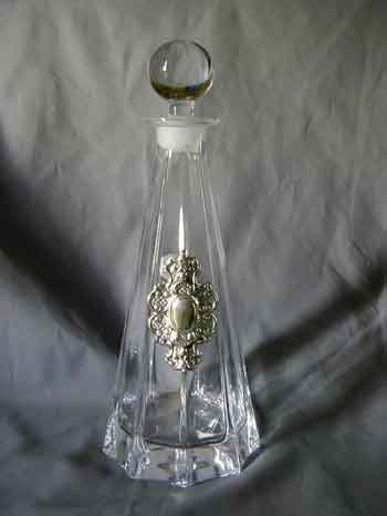 "Elegant Decanter, Crystal & Sterling Silver, 13"" Height"