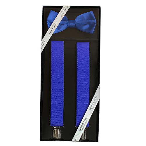 Luther Pike Mens Tuxedo Bow Tie & Suspenders Set Kentucky Derby Gift Box (Royal Blue)