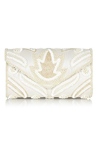 Art Deco Handbag - Vegas Vintage Inspired Hand Embellished Clutch Bag in Cream
