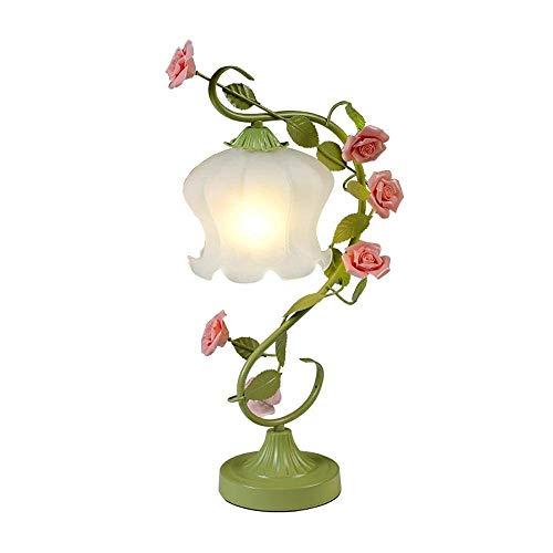 - Nordic LED Table Lamps, Romantic Creative Green/White Iron Ceramic Flower-shaped Decorative Glass Reading Lamp Modern Minimalist Bedroom Bedside Desk Light