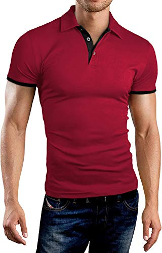 KUYIGO Mens Men's Perfect Slim Fit Short Sleeve Soft Fitted Polo Shirt Large ()