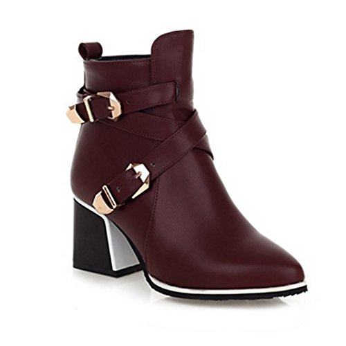 Comfort Heel for Bootie Fall Red ZHZNVX Sequin Novelty Pointed Spring Boots Shoes Wedding Chunky Toe Boots Ankle Party HSXZ Booties PU Buckle Women's 8qPHY