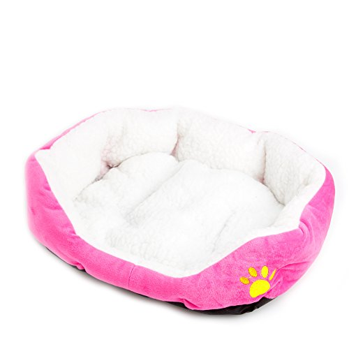 Wivily Lambskin Small Pet Dog Cat Bed , Cute Soft Sleeping House for Small Cat Dog (Pink)