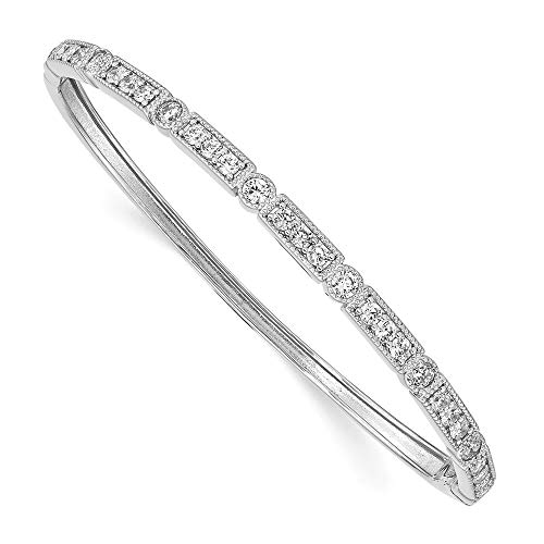 - 925 Sterling Silver Cubic Zirconia Cz Hinged Bangle Bracelet Cuff Expandable Stackable Fine Jewelry Gifts For Women For Her