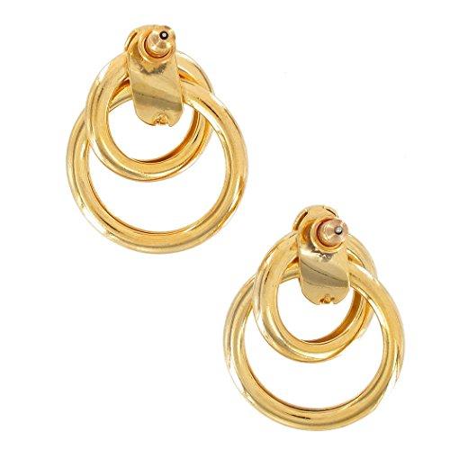 (Pierced Earrings Gold Tone Interlocking Ring Door Knocker Lightweight 1 1/4