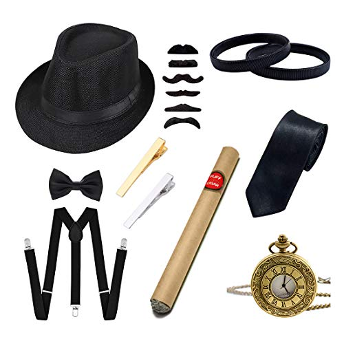 Ziyoot Men's 1920s Accessories Gatsby Gangster Costume Set
