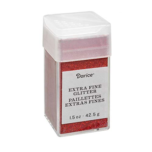 Cherry Red Extra Fine Glitter 1.5 Ounces Canister w/Pour or Shake Lid ()