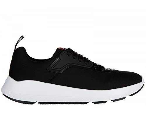 Prada Sneaker Scarpe Lace up da Uomo Nylon Tech 4e3148 Nero Bianco