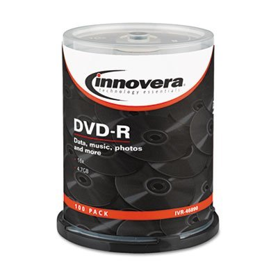 DVD-R Discs, 4.7GB, 16x, Spindle, Silver, 100/Pack, Sold as 2 Package