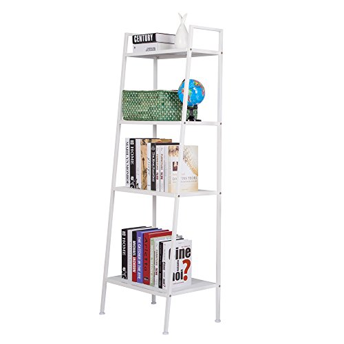 Rapesee Rapeee Multifunctional Metal 4 Shelf Bookcase, Ladder-Shaped Plant Flower Stand Rack Bookrack Storage Shelves White