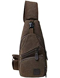 Canvas Chest Pack Crossbody Casual Sling Shoulder Bag(502) (Dark coffee)