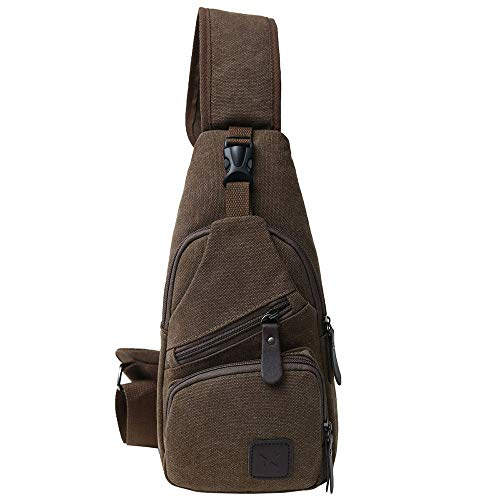 Canvas Chest Pack Crossbody Casual Sling Shoulder Bag(502) (Dark coffee) Cotton Leather Shoulder Bag