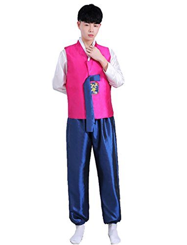 Un Costume Korea (Lemail wig Men Hanbok Korea Tradition Costume Hanfu Folk Clothes Party Cosplay Costume 3pcs)