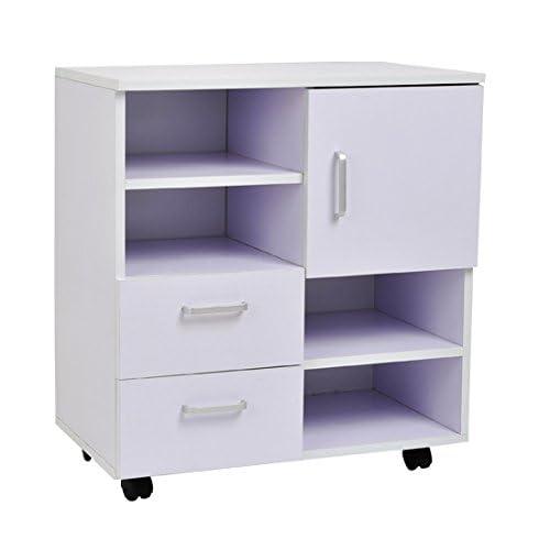 Homcom - Mesa armario movil mueble tv madera + cajones y ...