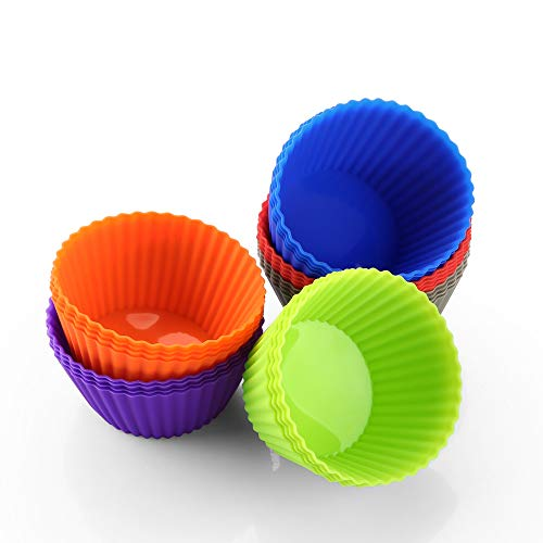 zanmini Silicone Cupcake Baking Cups, Reusable Cupcake Liners Set of 24, Silicone Muffin Liners Resist Stains and Odors, Dishwasher-Safe & Easy Clean
