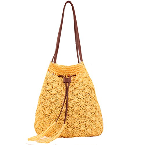 Beaded Hobo Purse Handbag - CLARA Women Summer Beach Bag Straw Weave Bucket Bag Drawstring Shoulder Bag Tote Bag Handbag Purse(Yellow)